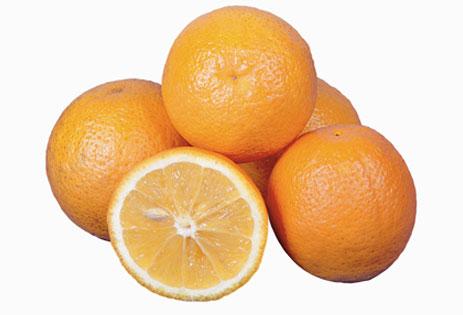 Fruto de laranja da variedade Valência, do grupo das variedades claras